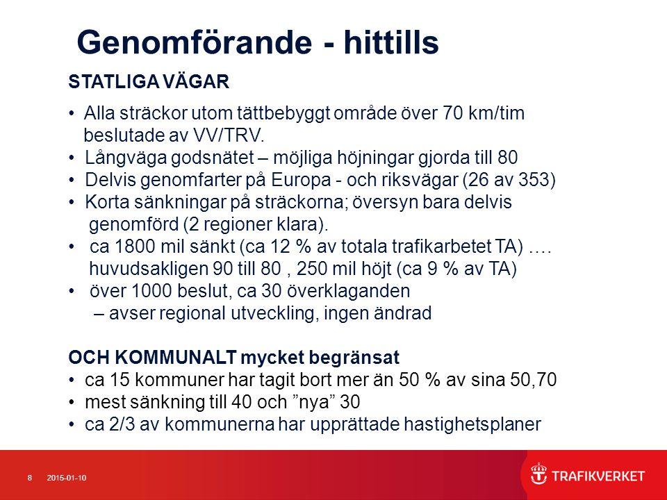 82015-01-10 Genomförande - hittills STATLIGA VÄGAR Alla sträckor utom tättbebyggt område över 70 km/tim beslutade av VV/TRV.