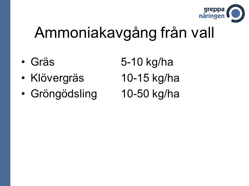 Ammoniakavgång från vall Gräs 5-10 kg/ha Klövergräs10-15 kg/ha Gröngödsling10-50 kg/ha