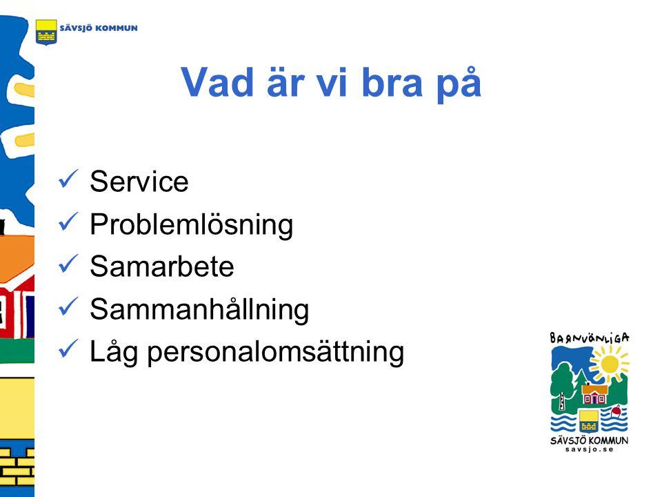Vad är vi bra på Service Problemlösning Samarbete Sammanhållning Låg personalomsättning