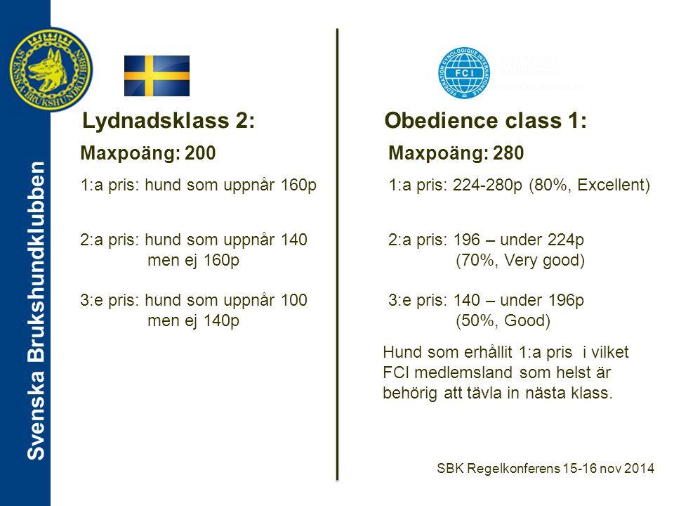 Svenska Brukshundklubben Moment Lydnadsklass 2Obedience class 1 Platsliggning - 3 min, 5 m mellan hundar - Förare synliga på 30 m håll - Gemensamt nedläggande och uppsättande - 2 min, 3 m mellan hundar - Förare utom synhåll - Nedläggande och uppsättande en hund i taget Fritt följ - Vanlig marsch med vändningar hö/vä/helt om samt halter.