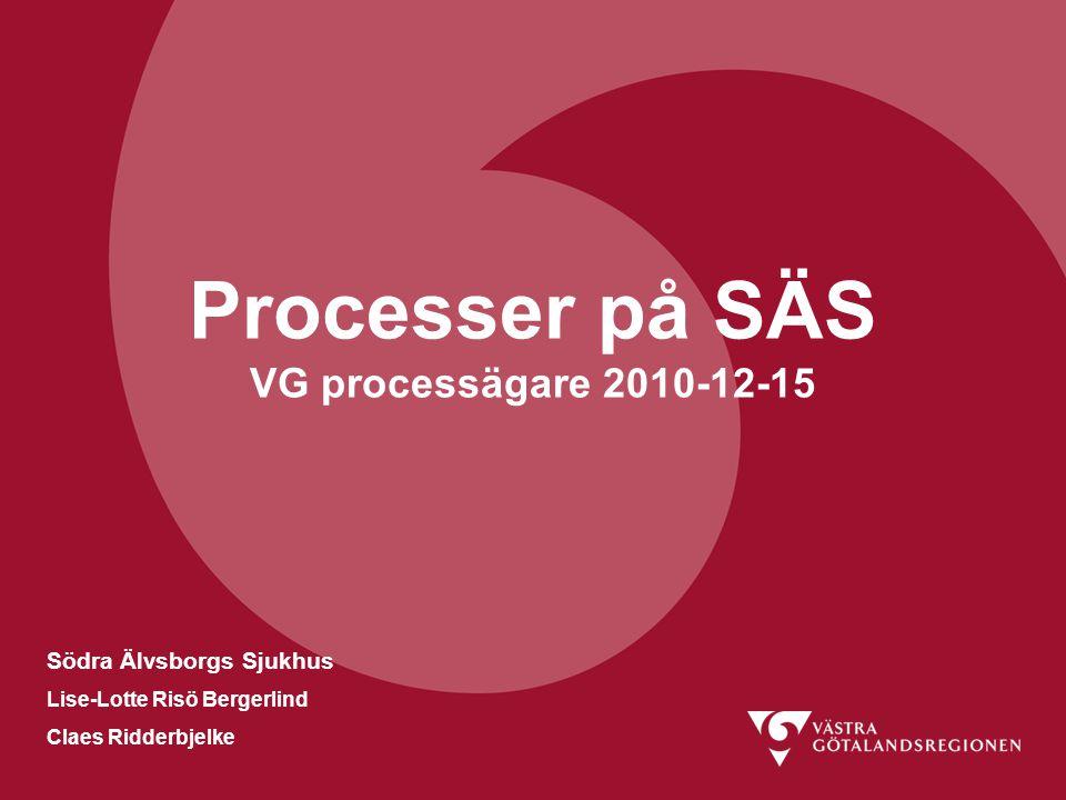Södra Älvsborgs Sjukhus Lise-Lotte Risö Bergerlind Claes Ridderbjelke Processer på SÄS VG processägare 2010-12-15