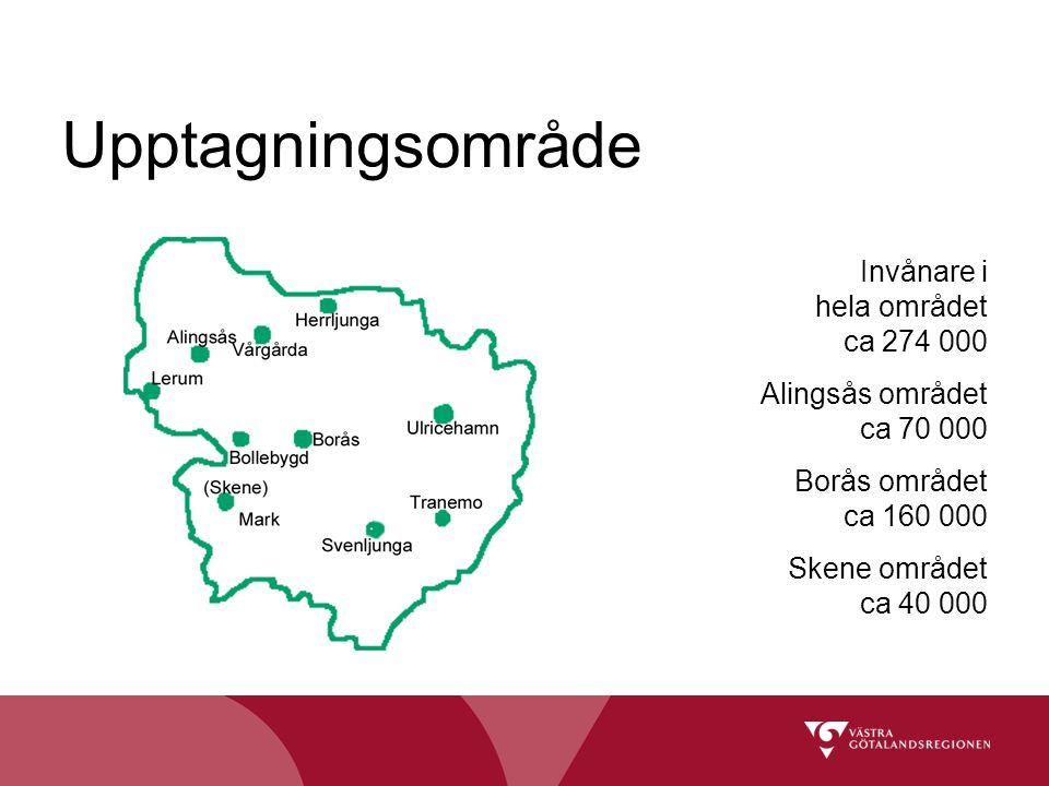 Upptagningsområde Invånare i hela området ca 274 000 Alingsås området ca 70 000 Borås området ca 160 000 Skene området ca 40 000