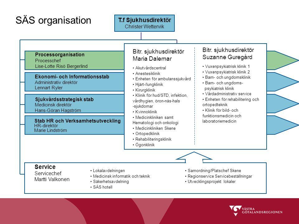 SÄS organisation T.f Sjukhusdirektör Christer Wettervik Processorganisation Processchef Lise-Lotte Risö Bergerlind Ekonomi- och Informationsstab Admin