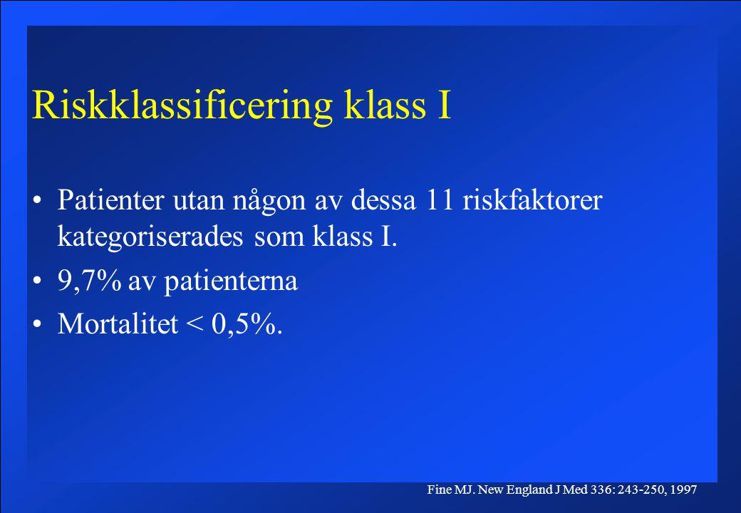 Riskklassificering klass I Patienter utan någon av dessa 11 riskfaktorer kategoriserades som klass I. 9,7% av patienterna Mortalitet < 0,5%. Fine MJ.