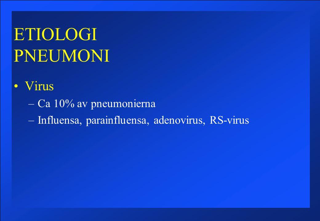 ETIOLOGI PNEUMONI Virus –Ca 10% av pneumonierna –Influensa, parainfluensa, adenovirus, RS-virus