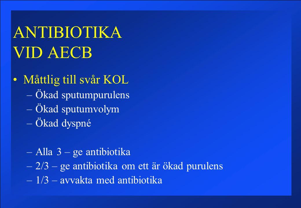 ANTIBIOTIKA VID AECB Måttlig till svår KOL –Ökad sputumpurulens –Ökad sputumvolym –Ökad dyspné –Alla 3 – ge antibiotika –2/3 – ge antibiotika om ett är ökad purulens –1/3 – avvakta med antibiotika