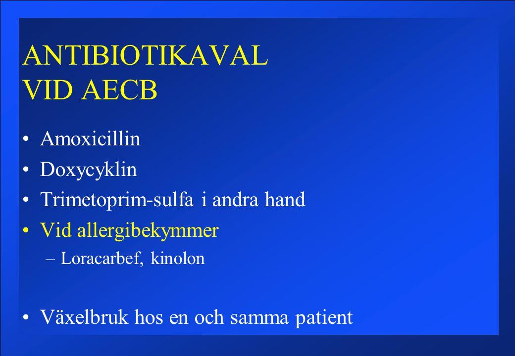 ANTIBIOTIKAVAL VID AECB Amoxicillin Doxycyklin Trimetoprim-sulfa i andra hand Vid allergibekymmer –Loracarbef, kinolon Växelbruk hos en och samma patient