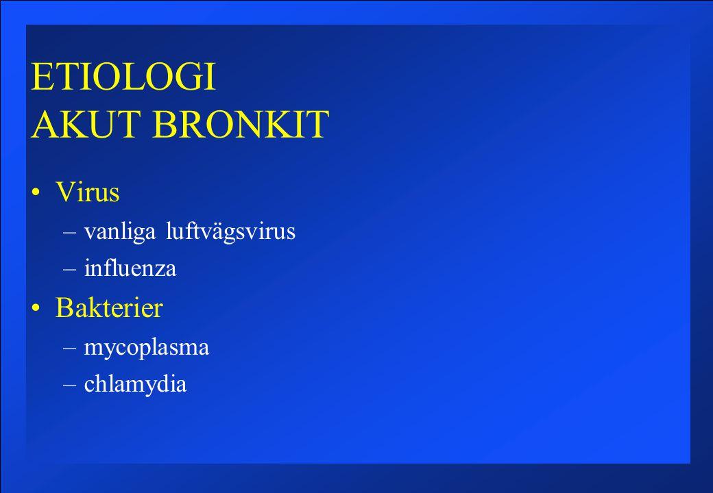 ETIOLOGI AKUT BRONKIT Virus –vanliga luftvägsvirus –influenza Bakterier –mycoplasma –chlamydia