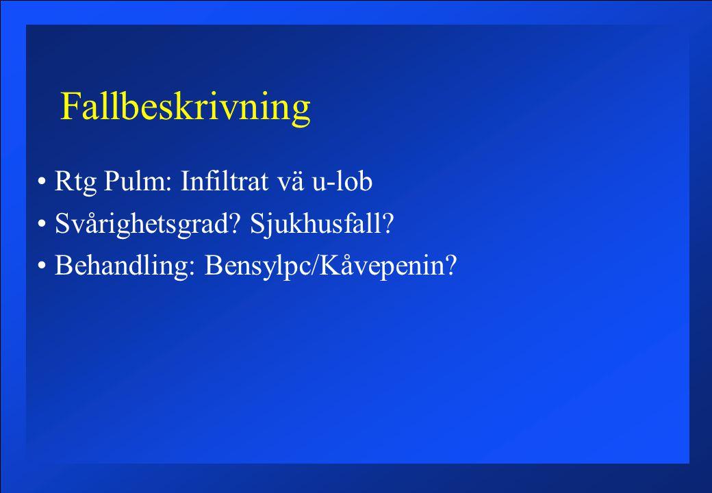 Fallbeskrivning Rtg Pulm: Infiltrat vä u-lob Svårighetsgrad.