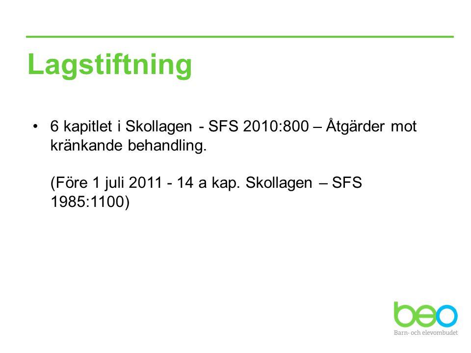 Lagstiftning 6 kapitlet i Skollagen - SFS 2010:800 – Åtgärder mot kränkande behandling. (Före 1 juli 2011 - 14 a kap. Skollagen – SFS 1985:1100)