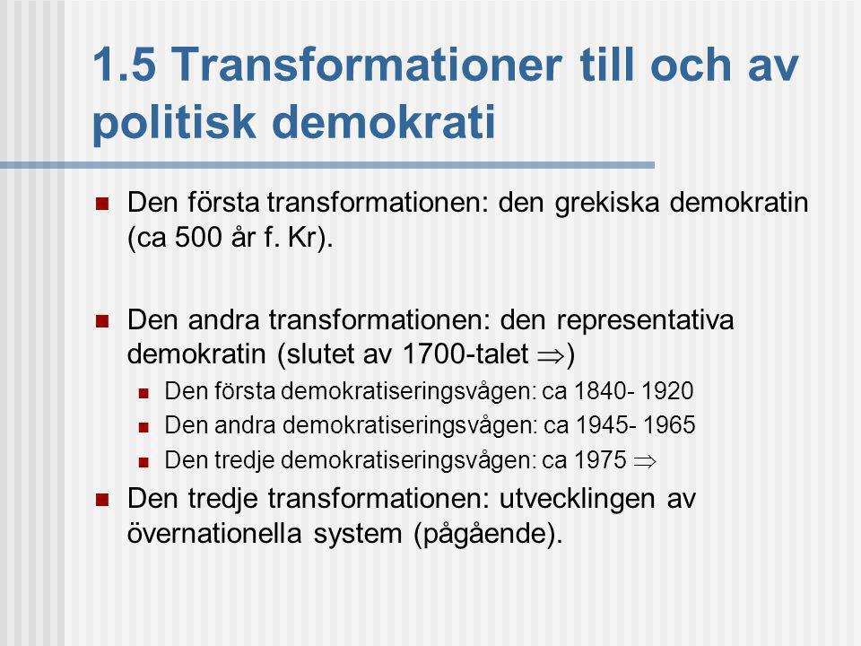 1.5 Transformationer till och av politisk demokrati Den första transformationen: den grekiska demokratin (ca 500 år f.
