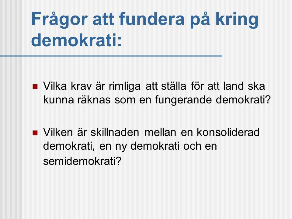 Frågor att fundera på kring demokrati: Vilka krav är rimliga att ställa för att land ska kunna räknas som en fungerande demokrati.