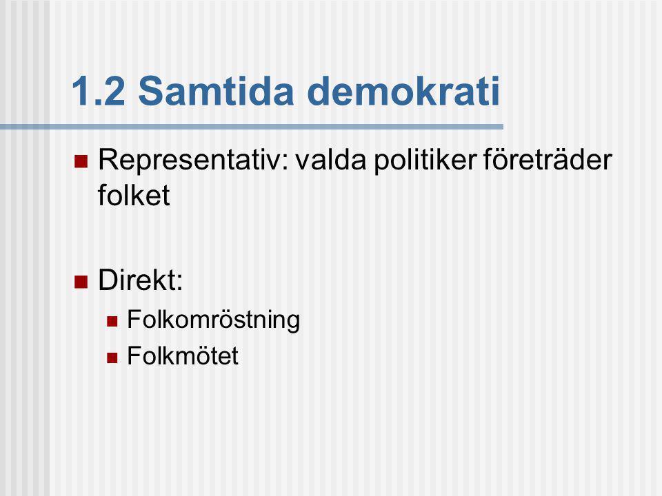 1.2 Samtida demokrati Representativ: valda politiker företräder folket Direkt: Folkomröstning Folkmötet