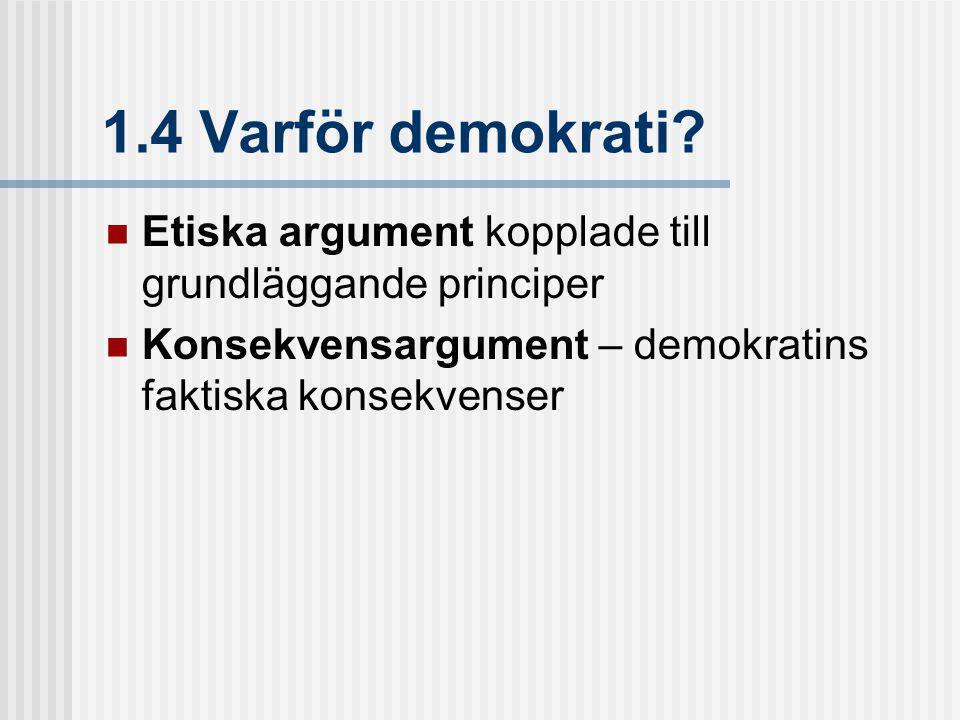 1.4 Varför demokrati.