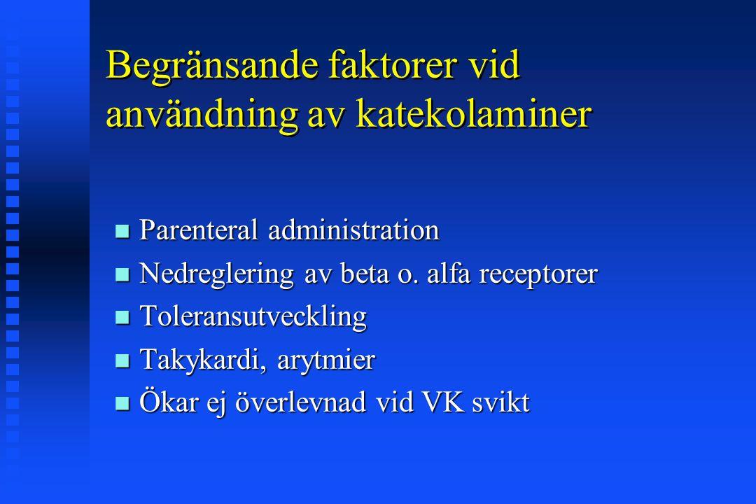 Begränsande faktorer vid användning av katekolaminer Parenteral administration Parenteral administration Nedreglering av beta o. alfa receptorer Nedre
