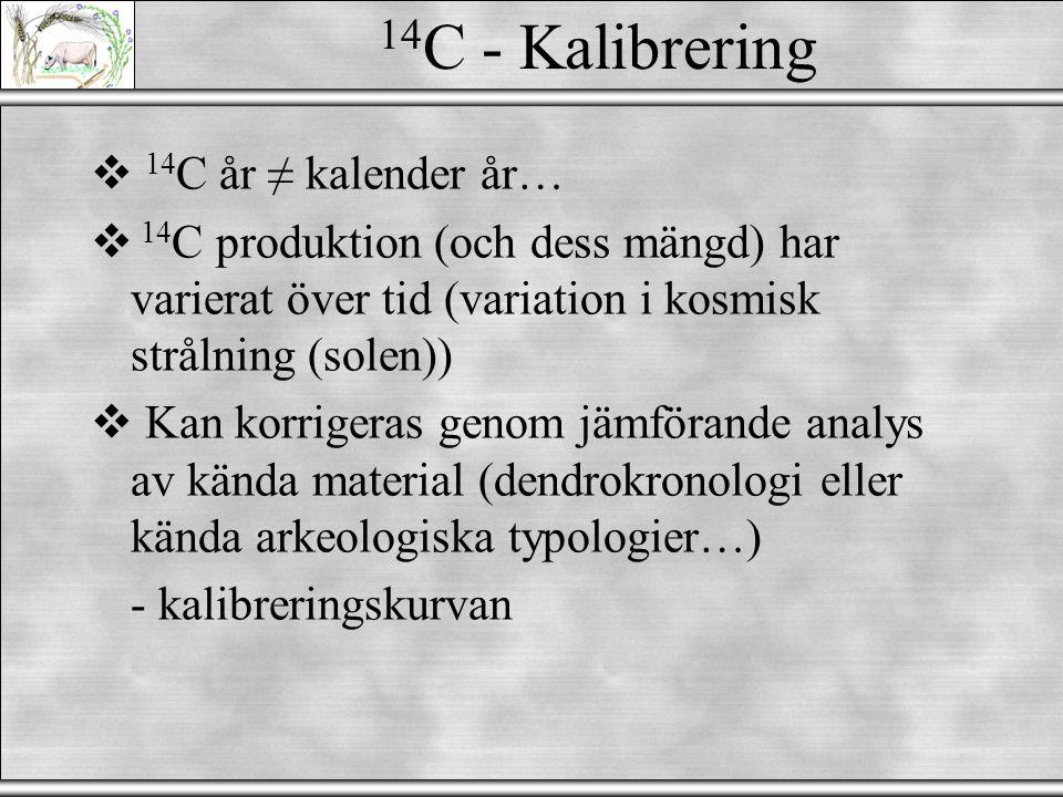 """14 C - Datering  Vad måste man tänka på: 1.Provets härkomst (stratigrafi eller anläggning) 2.Provets """"egenålder"""" 3.Kontaminationsrisk 4.Kalibrering.."""