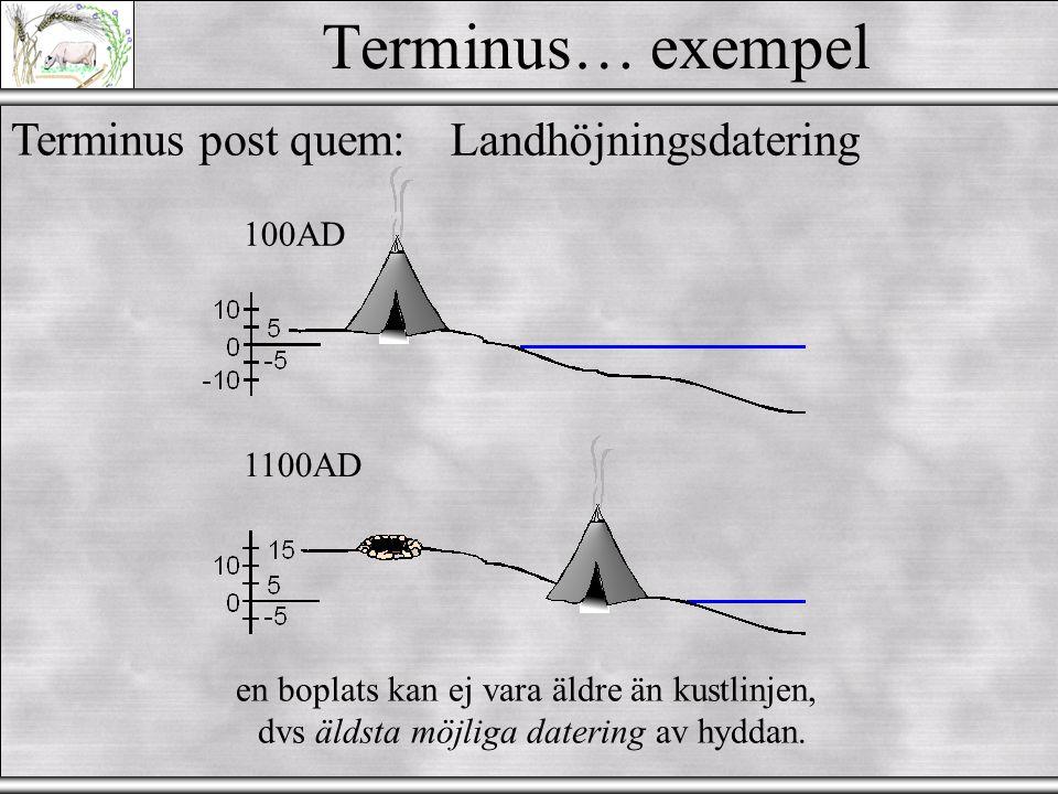 Terminus… exempel Terminus ante quem:Vesuvius 79 AD Äldre Yngre Djup 79AD allt under asklager är äldre, dvs yngsta möjliga datering för allt under ask