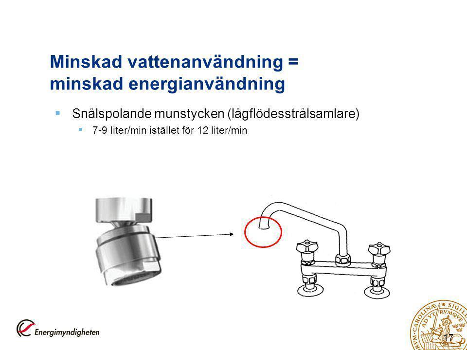 17 Minskad vattenanvändning = minskad energianvändning  Snålspolande munstycken (lågflödesstrålsamlare)  7-9 liter/min istället för 12 liter/min