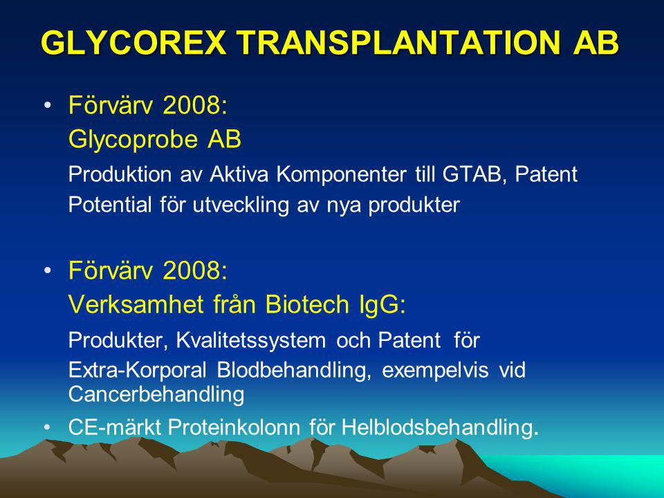 GLYCOREX TRANSPLANTATION AB Förvärv 2008: Glycoprobe AB Produktion av Aktiva Komponenter till GTAB, Patent Potential för utveckling av nya produkter F