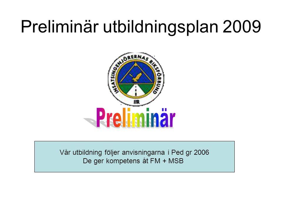 Preliminär utbildningsplan 2009 Vår utbildning följer anvisningarna i Ped gr 2006 De ger kompetens åt FM + MSB
