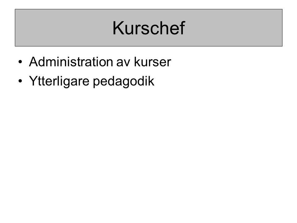 Administration av kurser Ytterligare pedagodik Kurschef