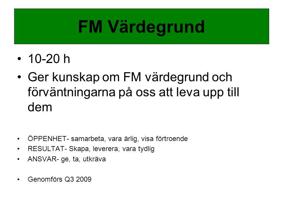 10-20 h Ger kunskap om FM värdegrund och förväntningarna på oss att leva upp till dem ÖPPENHET- samarbeta, vara ärlig, visa förtroende RESULTAT- Skapa