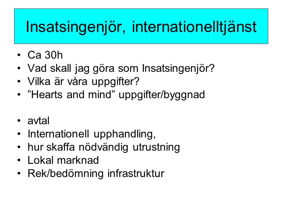 """Ca 30h Vad skall jag göra som Insatsingenjör? Vilka är våra uppgifter? """"Hearts and mind"""" uppgifter/byggnad avtal Internationell upphandling, hur skaff"""