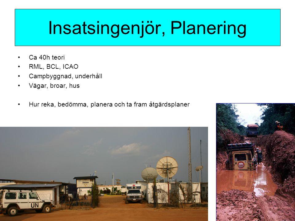 Ca 40h teori RML, BCL, ICAO Campbyggnad, underhåll Vägar, broar, hus Hur reka, bedömma, planera och ta fram åtgärdsplaner Insatsingenjör, Planering
