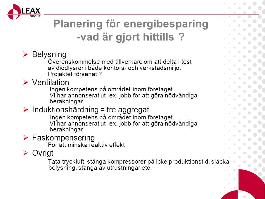  Belysning Överenskommelse med tillverkare om att delta i test av diodlysrör i både kontors- och verkstadsmiljö.