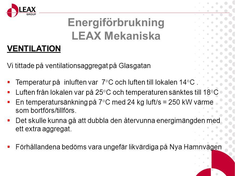 Energiförbrukning LEAX Mekaniska VENTILATION Vi tittade på ventilationsaggregat på Glasgatan  Temperatur på inluften var 7  C och luften till lokalen 14  C.