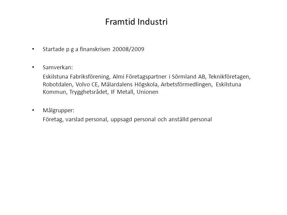 Framtid Industri Startade p g a finanskrisen 20008/2009 Samverkan: Eskilstuna Fabriksförening, Almi Företagspartner i Sörmland AB, Teknikföretagen, Ro