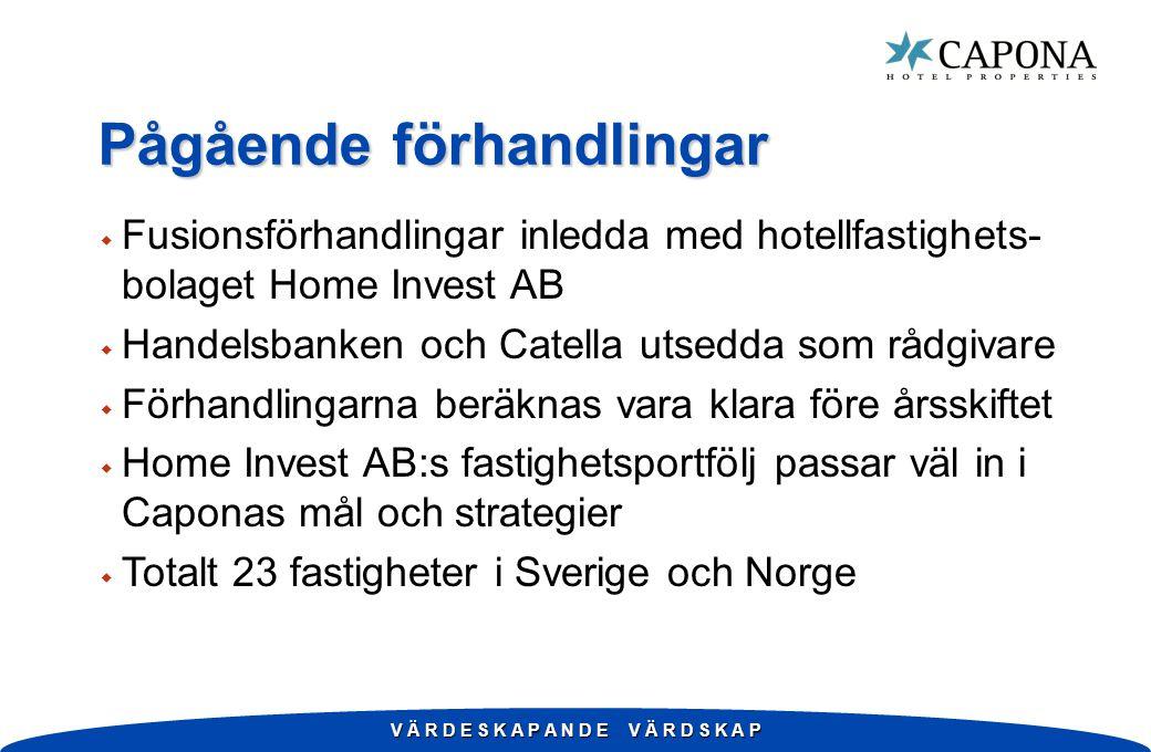 V Ä R D E S K A P A N D E V Ä R D S K A P Pågående förhandlingar w Fusionsförhandlingar inledda med hotellfastighets- bolaget Home Invest AB w Handelsbanken och Catella utsedda som rådgivare w Förhandlingarna beräknas vara klara före årsskiftet w Home Invest AB:s fastighetsportfölj passar väl in i Caponas mål och strategier w Totalt 23 fastigheter i Sverige och Norge