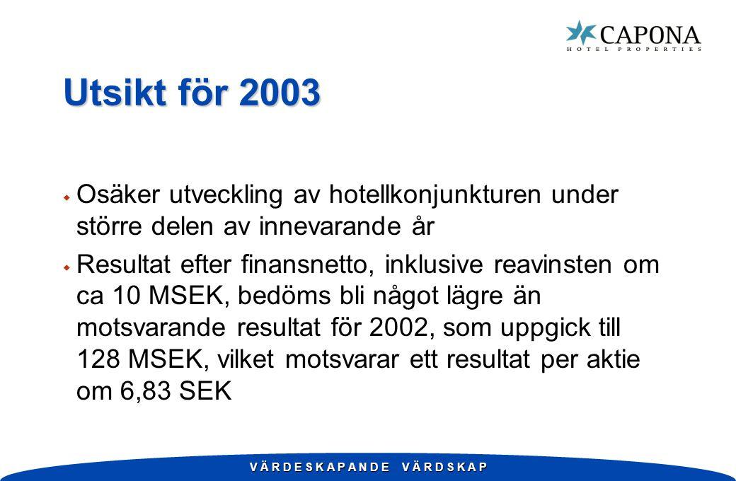 V Ä R D E S K A P A N D E V Ä R D S K A P Utsikt för 2003 w Osäker utveckling av hotellkonjunkturen under större delen av innevarande år w Resultat efter finansnetto, inklusive reavinsten om ca 10 MSEK, bedöms bli något lägre än motsvarande resultat för 2002, som uppgick till 128 MSEK, vilket motsvarar ett resultat per aktie om 6,83 SEK
