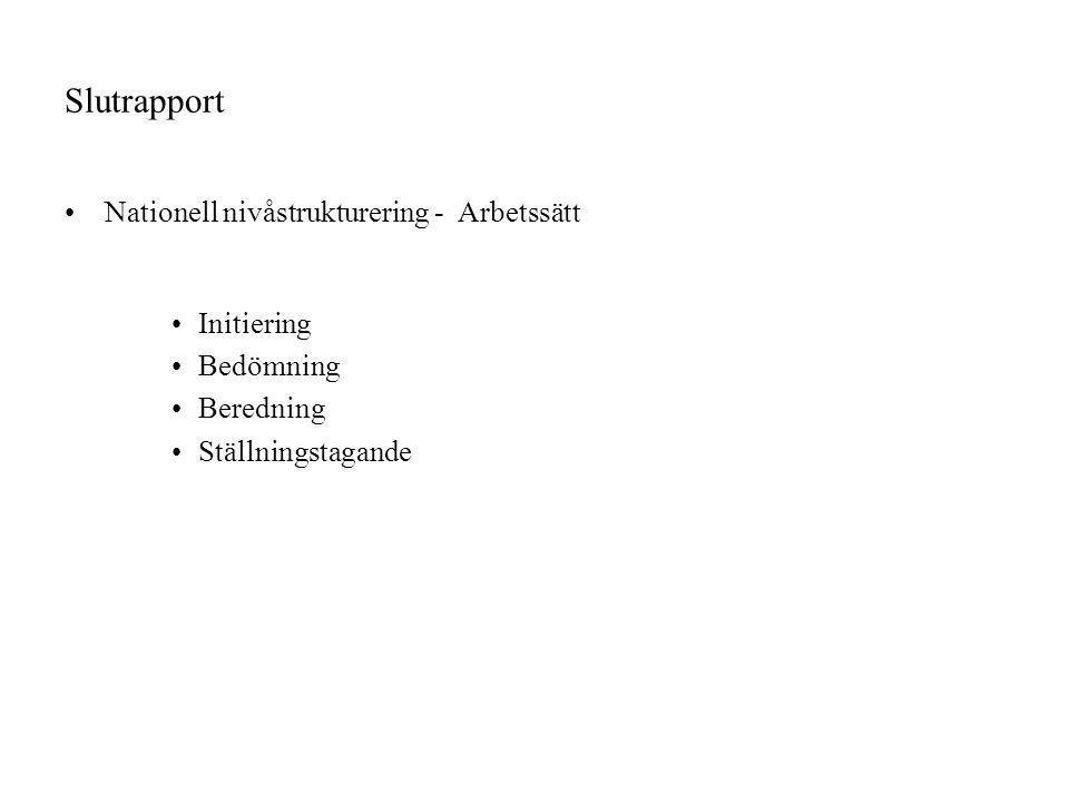 Slutrapport Nationell nivåstrukturering - Arbetssätt Initiering Bedömning Beredning Ställningstagande