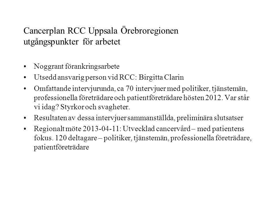 Cancerplan RCC Uppsala Örebroregionen utgångspunkter för arbetet Noggrant förankringsarbete Utsedd ansvarig person vid RCC: Birgitta Clarin Omfattande