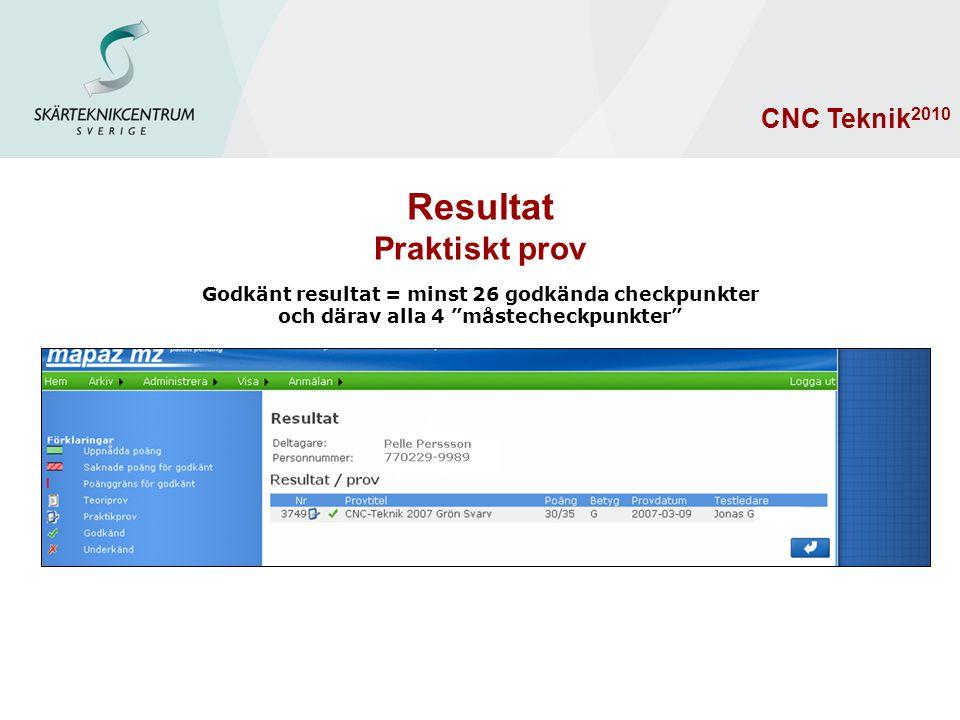 """Godkänt resultat = minst 26 godkända checkpunkter och därav alla 4 """"måstecheckpunkter"""" CNC Teknik 2010 Resultat Praktiskt prov"""