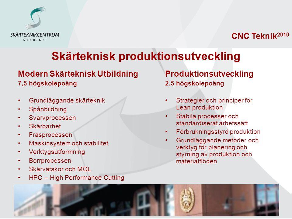 CNC Teknik 2010 Skärteknisk produktionsutveckling Modern Skärteknisk Utbildning 7,5 högskolepoäng Grundläggande skärteknik Spånbildning Svarvprocessen Skärbarhet Fräsprocessen Maskinsystem och stabilitet Verktygsutformning Borrprocessen Skärvätskor och MQL HPC – High Performance Cutting Produktionsutveckling 2.5 högskolepoäng Strategier och principer för Lean produktion Stabila processer och standardiserat arbetssätt Förbrukningsstyrd produktion Grundläggande metoder och verktyg för planering och styrning av produktion och materialflöden