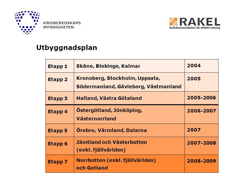 Etapp 1 Skåne, Blekinge, Kalmar 2004 Etapp 2 Kronoberg, Stockholm, Uppsala, Södermanland, Gävleborg, Västmanland 2005 Etapp 3 Halland, Västra Götaland