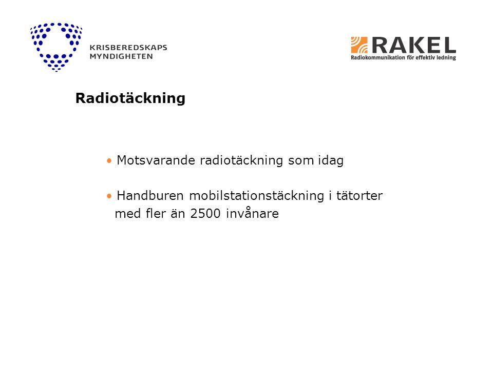 Motsvarande radiotäckning som idag Handburen mobilstationstäckning i tätorter med fler än 2500 invånare Radiotäckning