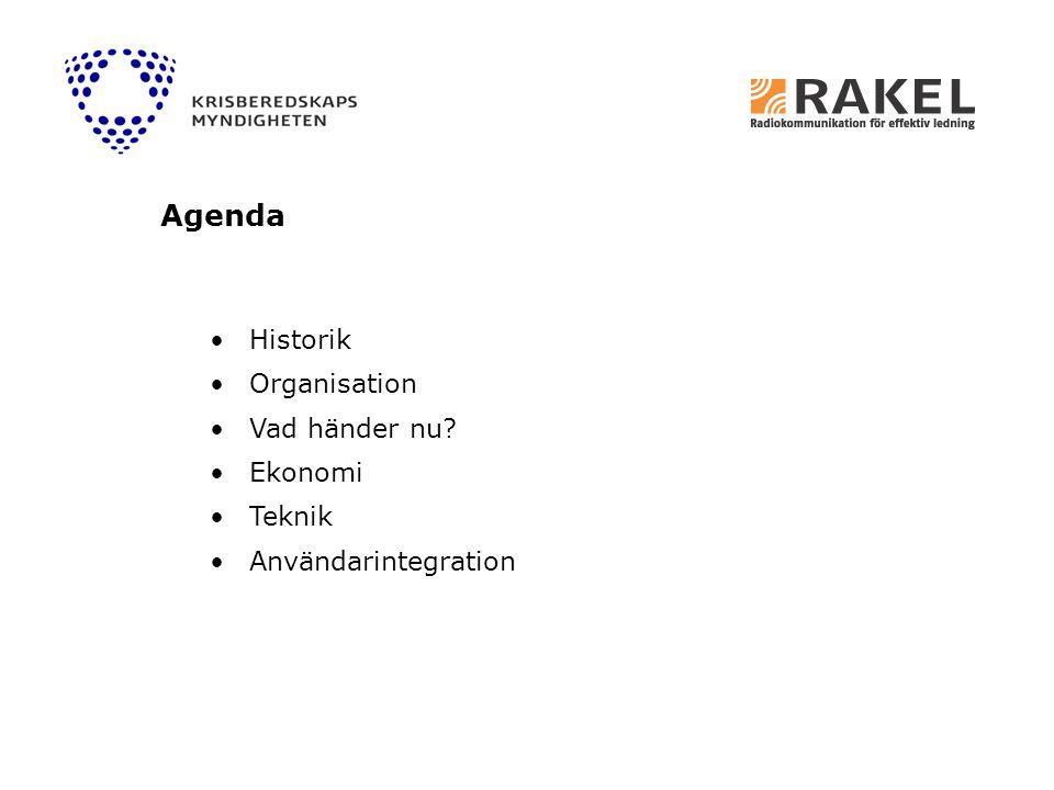 Historik Organisation Vad händer nu? Ekonomi Teknik Användarintegration Agenda