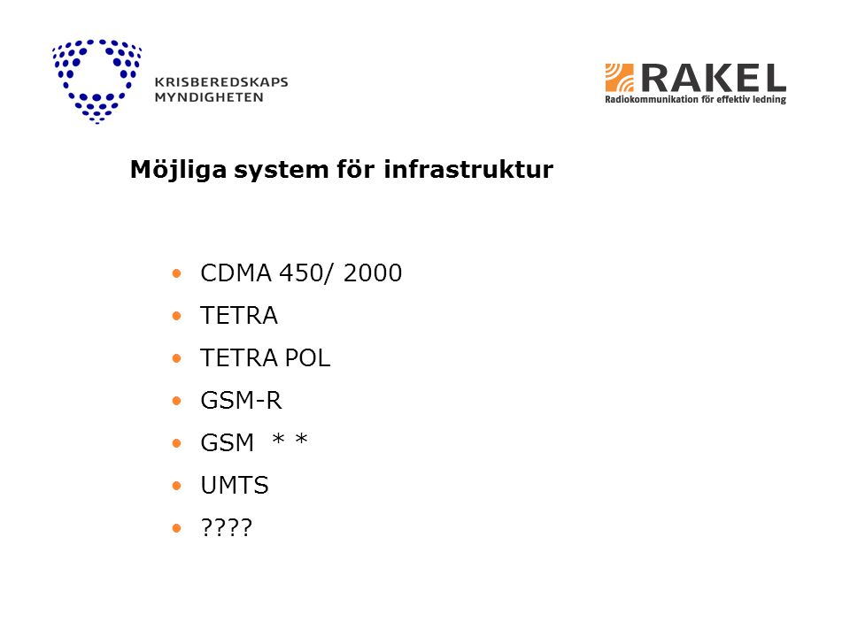 CDMA 450/ 2000 TETRA TETRA POL GSM-R GSM * * UMTS ???? Möjliga system för infrastruktur