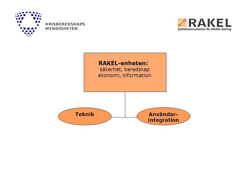 RAKEL-enheten RAKEL-enheten: säkerhet, beredskap ekonomi, information Användar- integration Teknik