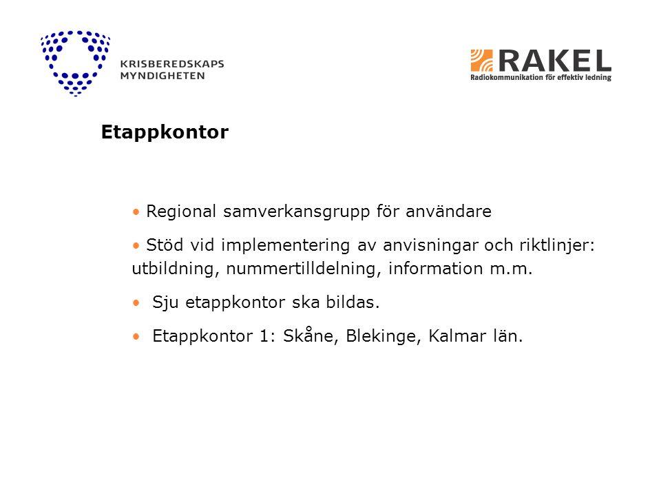 Regional samverkansgrupp för användare Stöd vid implementering av anvisningar och riktlinjer: utbildning, nummertilldelning, information m.m. Sju etap