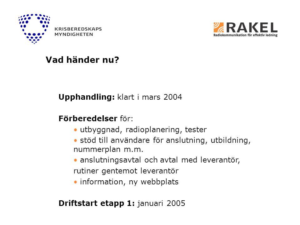Upphandling: klart i mars 2004 Förberedelser för: utbyggnad, radioplanering, tester stöd till användare för anslutning, utbildning, nummerplan m.m. an
