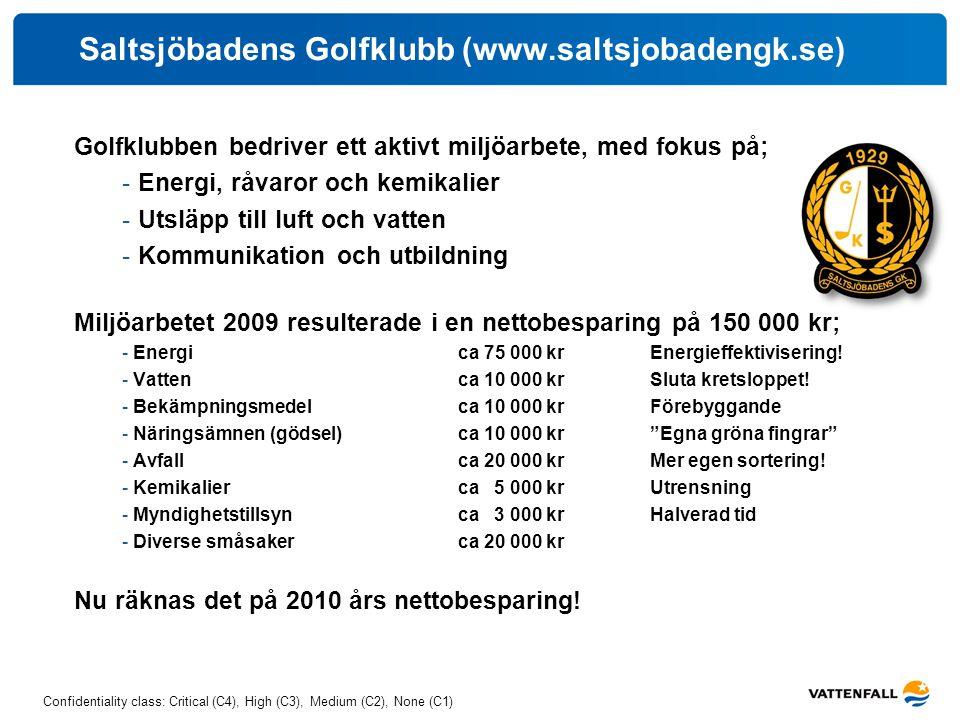Confidentiality class: Critical (C4), High (C3), Medium (C2), None (C1) Saltsjöbadens Golfklubb (www.saltsjobadengk.se) Golfklubben bedriver ett aktiv