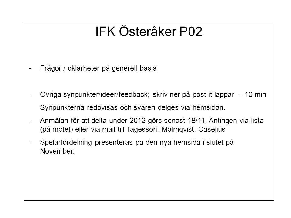 IFK Österåker P02 -Frågor / oklarheter på generell basis -Övriga synpunkter/ideer/feedback; skriv ner på post-it lappar – 10 min Synpunkterna redovisas och svaren delges via hemsidan.