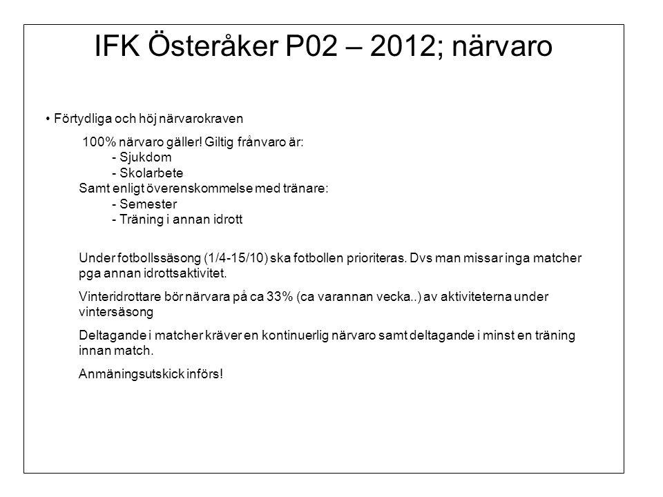 IFK Österåker P02 – 2012; närvaro Förtydliga och höj närvarokraven 100% närvaro gäller.