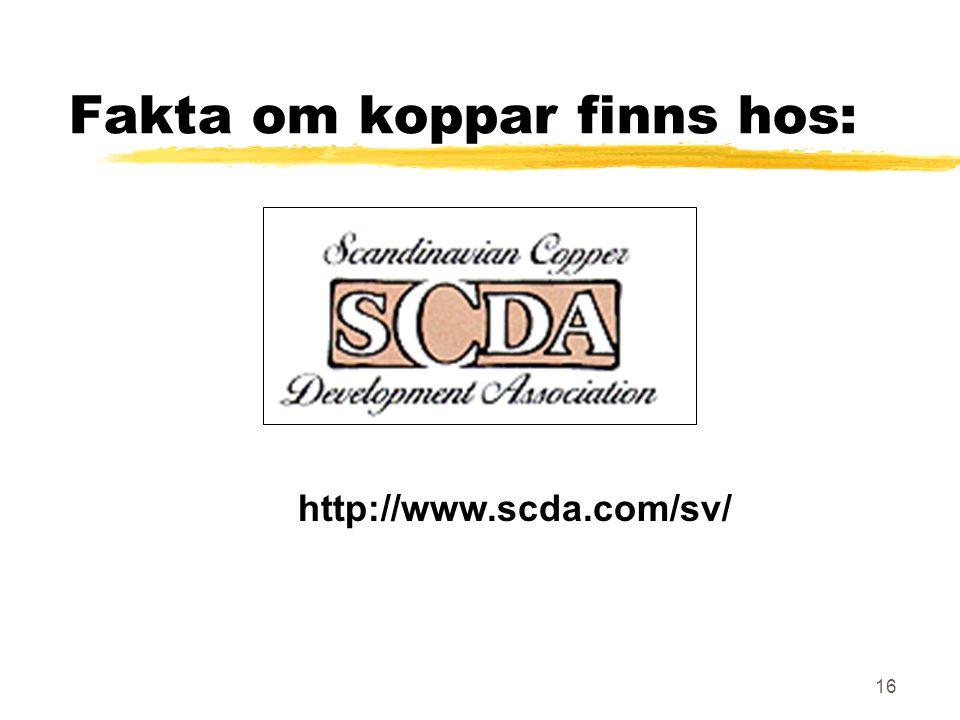 16 Fakta om koppar finns hos: http://www.scda.com/sv/