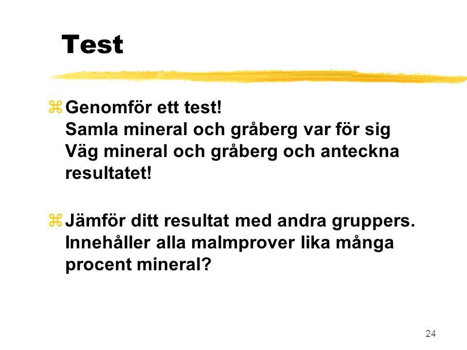 24 Test zGenomför ett test! Samla mineral och gråberg var för sig Väg mineral och gråberg och anteckna resultatet! zJämför ditt resultat med andra gru