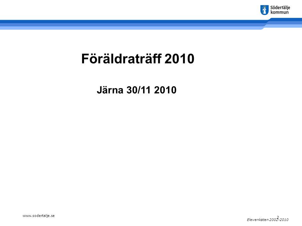 www.sodertalje.se 2 Elevenkäten 2002-2010 Föräldraträff 2010 Järna 30/11 2010